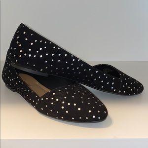 Black Suede/Metallic Silver Polka Dot Flats